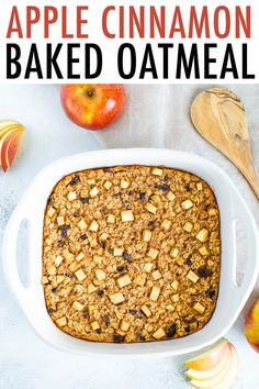 This apple cinnamon baked oatmeal is inspired by traditional Amish baked oatmeal and studded with apples, raisins and loads of cinnamon flavor. It's the perfect fall breakfast and great for meal prep. Healthy Meals To Cook, Healthy Diet Recipes, Real Food Recipes, Healthy Breakfasts, Vegan Meals, Healthy Eats, Amish Baked Oatmeal, Baked Oatmeal Recipes, Oatmeal Cake
