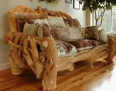 Rustic Log Furniture is made with wood shaped and mounted in such a way that it retains its natural appearance. This kind of furniture is long lasting Rustic Log Furniture, Driftwood Furniture, Cabin Furniture, Handmade Furniture, Furniture Projects, Cool Furniture, Furniture Design, Driftwood Crafts, Western Furniture
