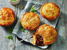 This Moroccan Lamb Pies Australias Best Recipes is a better for your dessert made with awesome ingredients! Steak And Mushroom Pie, Steak And Mushrooms, Slow Cooked Moroccan Lamb, Lamb Recipes, Cooking Recipes, Fun Cooking, Curry Recipes, Mini Pastries, Pinwheel Recipes