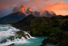 Sunrise light on the Horns of Torres del Paine National Park in Chile  by Ian Plant