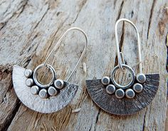 Sterling silver earrings. Silver dangle earrings. Drop earrings. Fan earrings.  Handmade. MADE TO ORDER. by Kailajewellery on Etsy https://www.etsy.com/listing/83028211/sterling-silver-earrings-silver-dangle
