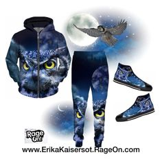 #tacksuit #Owl and night sky #hoodie sweatpants #joggers high tops #sneakers by #ErikaKaisersot on @RageOn visit my store http://ErikaKaisersot.RageOn.com/