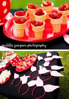 Red fruit in ice cream cones (looks like grapes and strawberries): easy peasy!