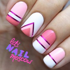 you should stay updated with latest nail art designs, nail colors, acrylic nails, coffin… Nail Art Stripes, Striped Nails, White Nails, Pink Nail Art, Pink Stripes, Simple Nail Art Designs, Nail Designs, Tape Nail Art, Geometric Nail Art