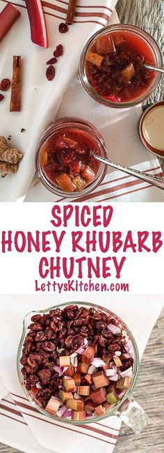 Easy recipe for Spiced Honey Rhubarb Chutney, delicious relish and condiment. Cardamom and ginger spiced, dried cranberries, red wine vinegar and honey. Best Nutrition Food, Health And Nutrition, Nutrition Guide, Health Tips, Nutrition Websites, Health Care, Universal Nutrition, Nutrition Products, Nutrition Chart