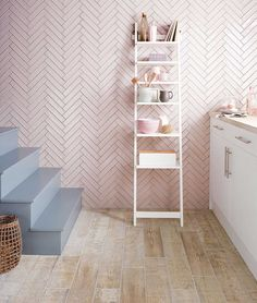 Pink tiles at Topps Tiles. Suitable for walls & floors in a range of materials. Express and 24 hour home delivery available. Kitchen Tiles, Kitchen Flooring, Kitchen Design, Topps Tiles, Pink Tiles, Pink Bathroom Tiles, Bathroom Wall, Herringbone Tile, Ideas