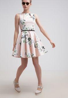 Schickes #Kleid mit #Blumenmuster. Dieses Freizeitkleid mit goldenem Reißverschluss am Rücken und abnehmbaren Lackgürtel ist super kombinierbar mit #Sandalen oder #Pumps. ♥ ab 69,95 €