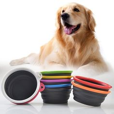 Black Silicone Foldable And Portable Pet Bowl