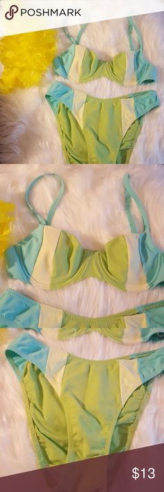 Huit France Jenna De Rosnay Bikini XS Jenna De Rosnay Turquoise Yellow and Lime Green Bikini. Perfect Condition. Size XS. Top is a 30B Jenna De Rosnay Swim Bikinis