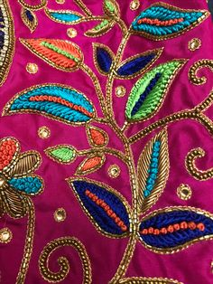 More designs available ping me Zardosi Embroidery, Hand Embroidery Dress, Embroidery Works, Flower Embroidery Designs, Embroidery Motifs, Simple Embroidery, Embroidery Fashion, Embroidered Blouse, Peacock Blouse Designs