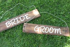 Holly I have seen signs on the back of the bride and groom's chairs at weddings and it looks so cute! I don't love these ones, but I wanted to send it to you as an example.