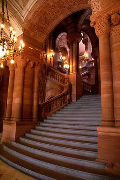 A view of the State Capitol staircase in Albany NY from the first floor looking upward. Just a few short blocks from 74 State Hotel
