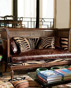 british colonial room, marvelous carved and cane settee with burnished leather and zebra cushions. 86 all the zebra and it'd be perfect Decor, Furniture, Interior, African Decor, Home Decor, Colonial Decor, British Colonial Decor, Interior Design, Colonial Style