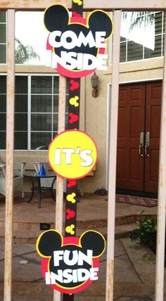Red and Yellow Mickey Mouse Birthday Door Sign by MonkeyMomDesigns