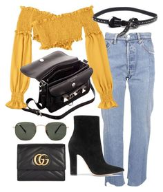 """Untitled #22240"" by florencia95 ❤ liked on Polyvore featuring Vetements, Proenza Schouler, B-Low the Belt, Gianvito Rossi, Ray-Ban and Gucci"