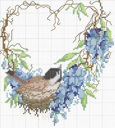 <3 Cross-stitch Grapevine Wreath & Bird in a nest. ... no color chart available, just use the pattern chart as your color guide..