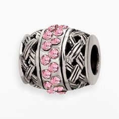 Individuality Beads Sterling Silver Pink Crystal Openwork Basket Weave Er Bead