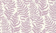 Wild Fern (W0049/03) - Clarke & Clarke Wallpapers - An all over Fern leaf trail motif with a hand painted effect. Showing in heather on a white background - more colours are available. Please request a sample for true colour match. Paste-the-wall product.