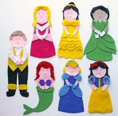 13 moldes de feltro para baixar de fantoches e dedoches das princesas Disney totalmente grátis para baixar. São 7 moldes de feltro de fantoches de mão para