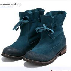 2016 medio del tobillo envío libre corto natrual reales cuero genuino botas/mujeres Degradado de color de la motocicleta de las mujeres botas de nieve, 5 color en Botas de las mujeres de Zapatos en AliExpress.com | Alibaba Group