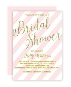 13 Bridal Shower Templates That You Won't Believe Are Free: Glitter and Blush Bridal Shower Invitation from Chicfetti
