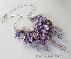 Purple coral, petal pearl, scorolite, mystic blue quartz, & sterling silver necklace   artisan handcrafted pearl & gemstone jewelry   online upscale designer jewelry gallery boutique   Schaef Designs designer pearl & gemstone jewelry   San Diego, CA