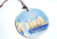 NEW YORK CITY cityscape handmade ceramic by FaithAnnOriginals, $24.00