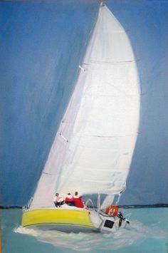 Le voilier (Peinture à l'huile - Œuvre de Danielle Schnupp)