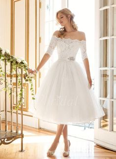 A-Line/Princess Off-the-Shoulder Tea-Length Beading Tulle Lace Covered Button Sleeves 1/2 Sleeves Beach Hall Garden / Outdoor Reception General No Spring Summer Fall Ivory White Wedding Dress