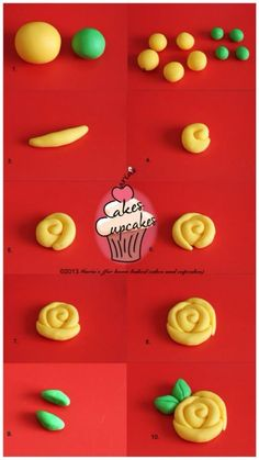 great for cupcakes Fondant Rose, Fondant Flowers, Clay Flowers, Sugar Flowers, Fondant Toppers, Fondant Cakes, Cupcake Cakes, Cake Decorating Techniques, Cake Decorating Tutorials