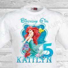 Little Mermaid Birthday Iron On Transfer Ariel Shirt