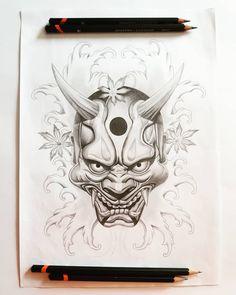 Japanese Demon Mask Tattoo, Japanese Hannya Mask, Japanese Tattoo Designs, Japanese Tattoo Art, Japanese Art, Japanese Mask Meaning, Hannya Mask Tattoo, Oriental, Mask Drawing