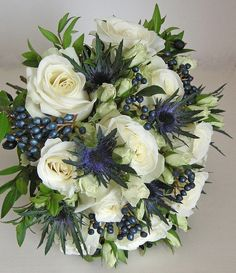 Wedding Bouquet, Roses,eryngium,viburnum tinus and myrtle bouquet by fioribylynne, via Flickr