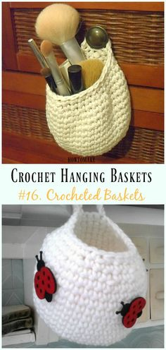Crochet Makeup Hanging Baskets Free Pattern- Hanging #Basket; Free #Crochet; Patterns