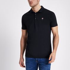 Pique fabric Rose chest embroidery Slim fit Short sleeve Button-placket Our model wears a UK M and is tall Slim Fit Polo Shirts, Long Sleeve Polo, Rose, River Island, Mens Tops, How To Wear, Embroidery, Navy, Shopping