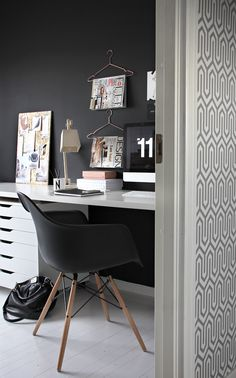 Noregian Office / via Stylizimo.Black wall, white desk. Love this study area for the corner of my dining room