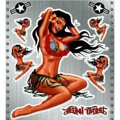 Nose Art Tiki Pin Up Girl Vinyl Sticker Hawaii Tattoos, Tiki Hawaii, Tiki Art, Nose Art, Pin Up Girls, Hawaiian, Aircraft, Sticker, Clip Art
