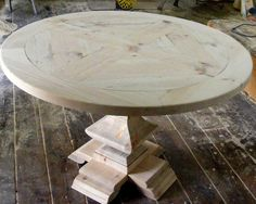 Round Dining Table Parquet Top with Handcarved Square Pedestal Table Unfinished – Hazir Site Pedestal Dining Table, Round Dining Table, Round Tables, Dining Room Inspiration, Diy Table, Hand Carved, Solid Wood, Etsy, Diy Wood