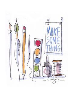 Make Something Poster. $20.00, via Etsy.  A wonderful poster for that art teacher you love!