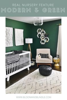 A modern, gender neutral nursery with green, black, white a gold accents. Check out more of this green nursery and the products featured. #greenliving