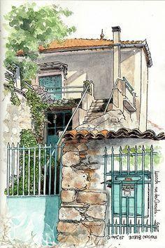 .. maison bleue ... Le Rocher | Catherine Gout - sketcher