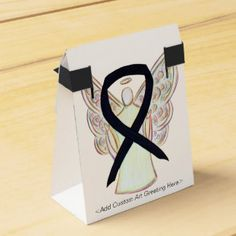 Black Awareness Ribbon Angel Party Favor Boxes