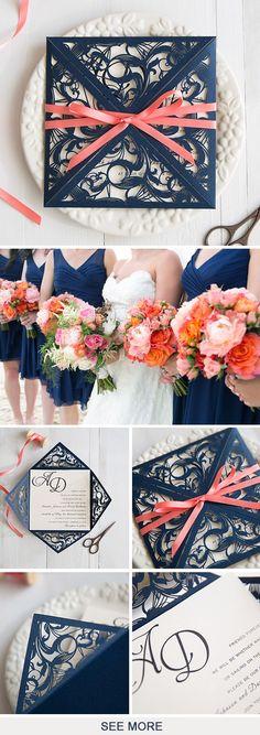 The Latest Navy Blue Wedding Invitations from Elegant Wedding Invites