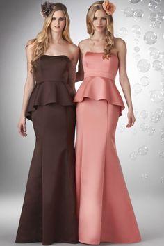 Peplum Mermaid Strapless Satin Bridesmaid Dress