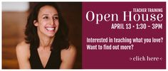Interested in teaching what you love? Want to find out more? Come to our Teacher Training Open House Meet and Greet with Christa Mastrangelo Joyce, Saturday April 13th, 1:30-3 PM. Questions will be answered and light refreshments served. This is the last day for the early-bird discount! *Special pay in full discount when you sign …