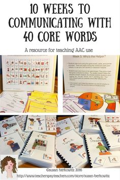 Use of core vocabulary words has been shown to provide AAC users with the vocabulary they need to serve most of their communication needs. The researchers whove developed the Developmental Learning Maps (DLM ) have identified a basic core of 40 words tha Vocabulary Activities, Interactive Activities, Speech Therapy Activities, Speech Language Pathology, Language Activities, Teaching Activities, Speech And Language, Interactive Books, Teaching Tips