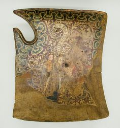 Although damaged from use and age, this shield is one of the most beautifully painted examples of the fifteenth century.