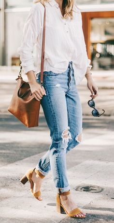 #fall #outfits women's white button-up long-sleeved shirt, distressed blue-washed jeans, brown ankle-strap sandals outfit