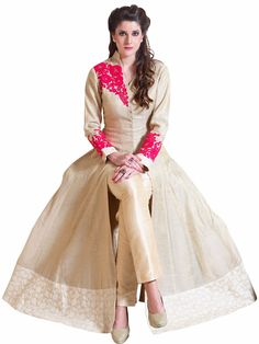 Pushmina Silk Ready Made Party Wear Beige Salwar Suit. For price or details…