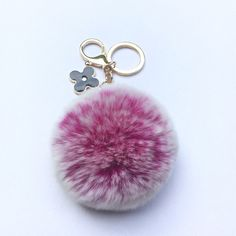 18.99$ Watch here - http://viafd.justgood.pw/vig/item.php?t=5dkhf010373 - Pom-Perfect Hot Pink frosted REX Rabbit fur pom pom ball with black flower keych 18.99$